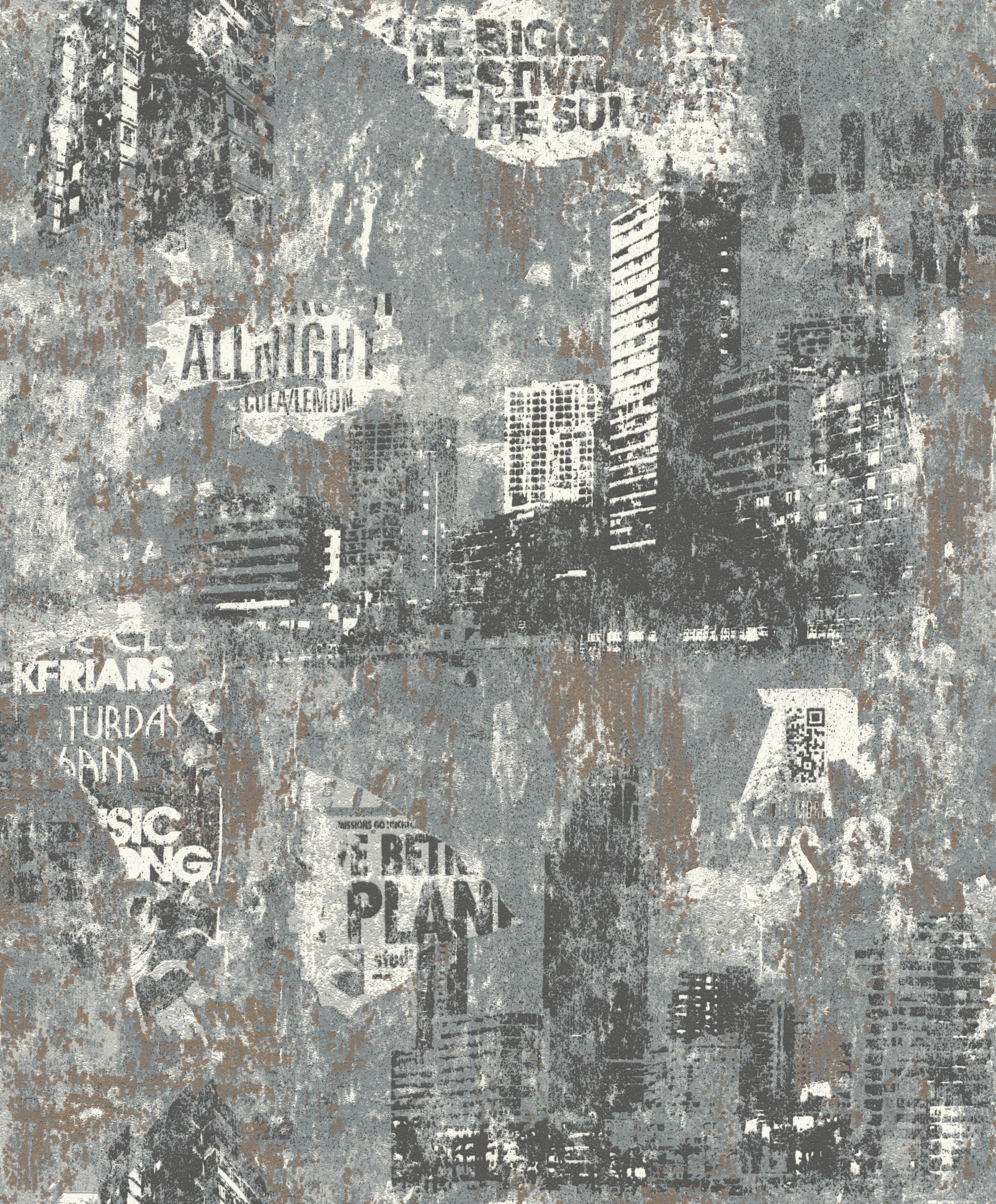 Sötétszürke koptatott hatású épület mintás gyerek tapéta