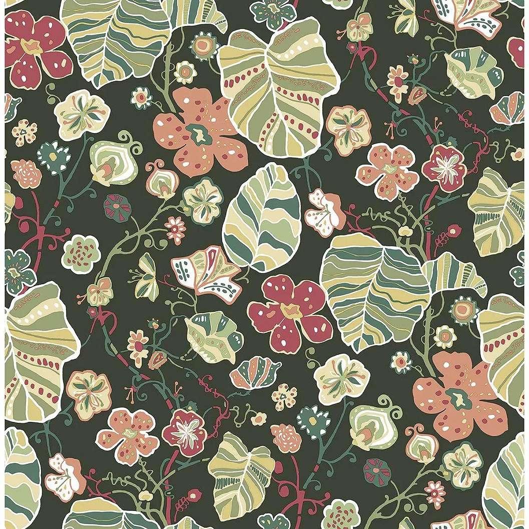 Sötétzöld alapon skandináv stílusú színes virágmintás tapéta
