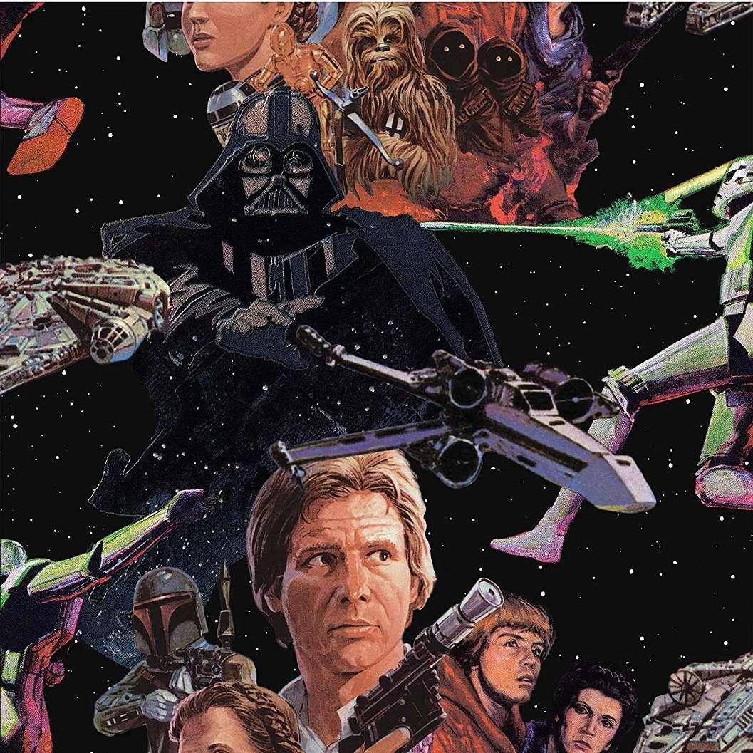 Star Wars mintás tapéta, Han Solo, X-Wing és Darth Vader mintával