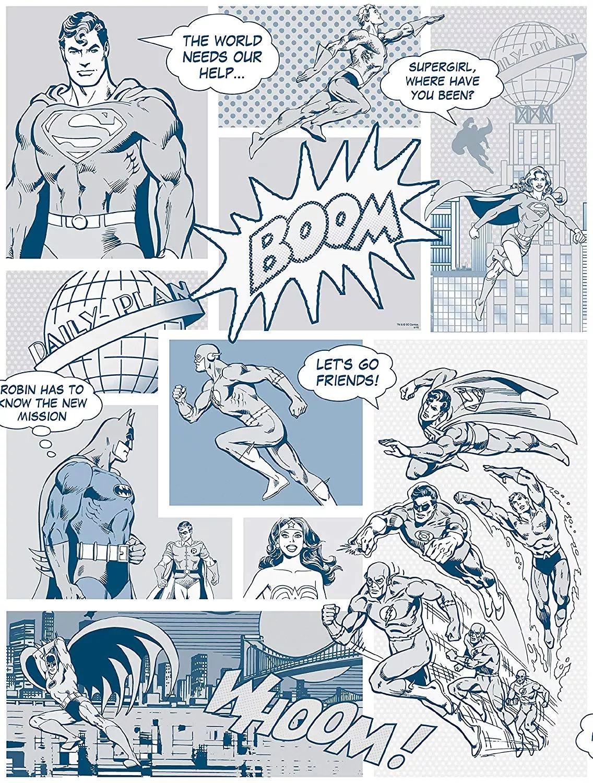 Superman mintás gyerektapéta kékes színvilágban