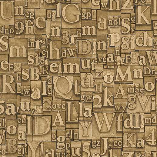 Számok betűk aranysárga loft hangulatú tapéta
