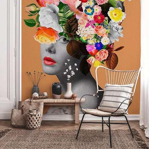 Színes absztrakt virágmintás fali poszter női portré mintával