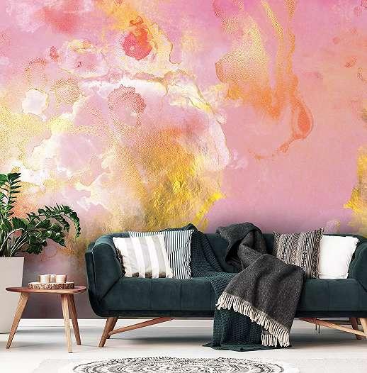 Színes akvarell hatású absztrakt mintás fali poszter