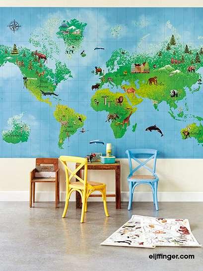 Színes állatos világtérkép faliposzter gyerekszobába