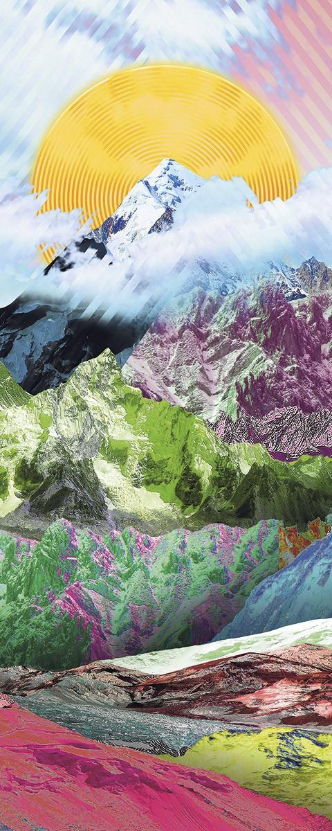 Színes bámulatos hegytető fali poszter