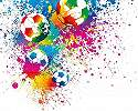 Színes fali poszter focilabda mintával