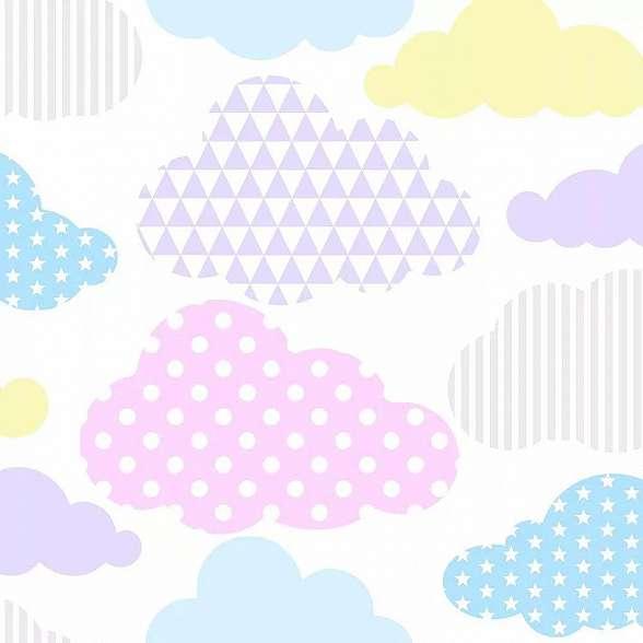 Színes felhő mintás tapéta gyerekszobába