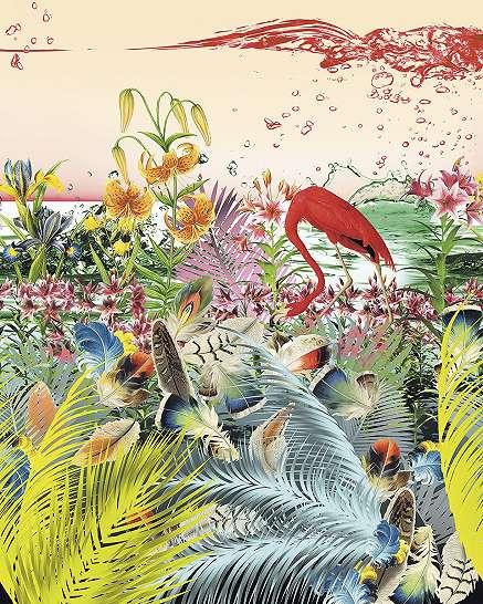 Színes flamingós fali poszter