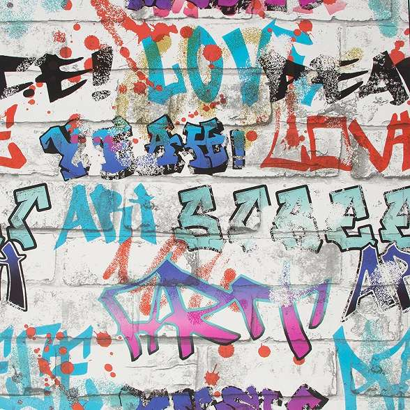 Szines graffiti mintás tini tapéta