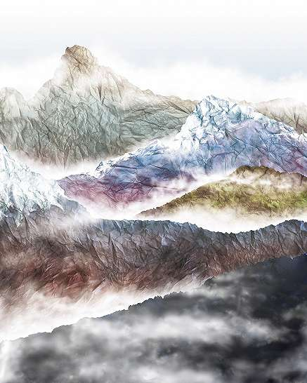 Színes hegycsúcsok fali poszter