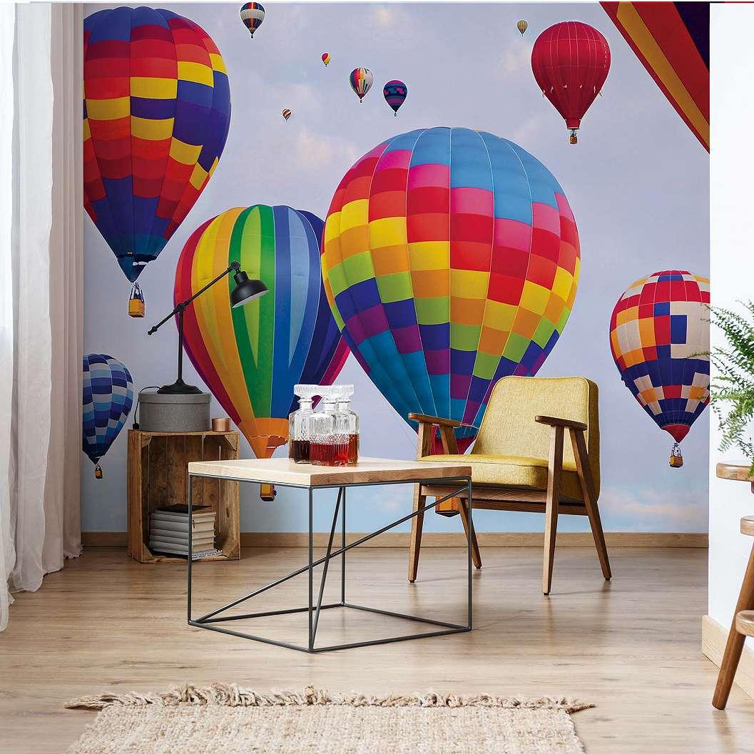 Színes hőlégballonok fali poszter