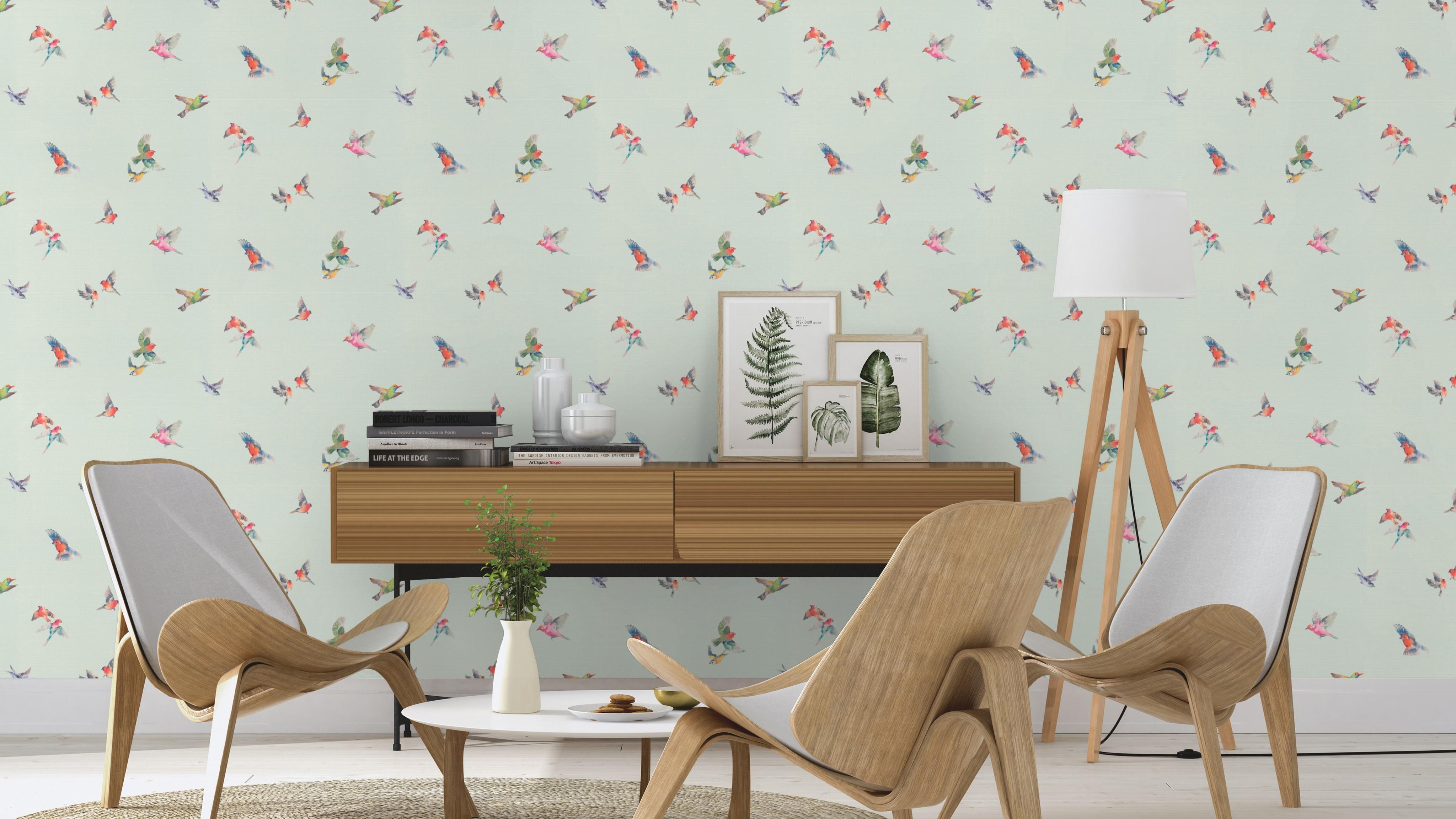 Színes madár mintás tapéta vintage hangulatban