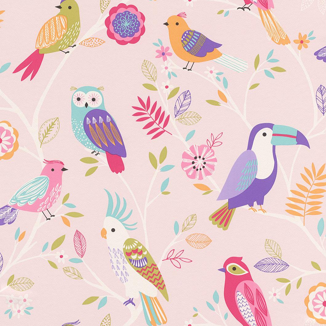Színes madármintás gyerek tapéta