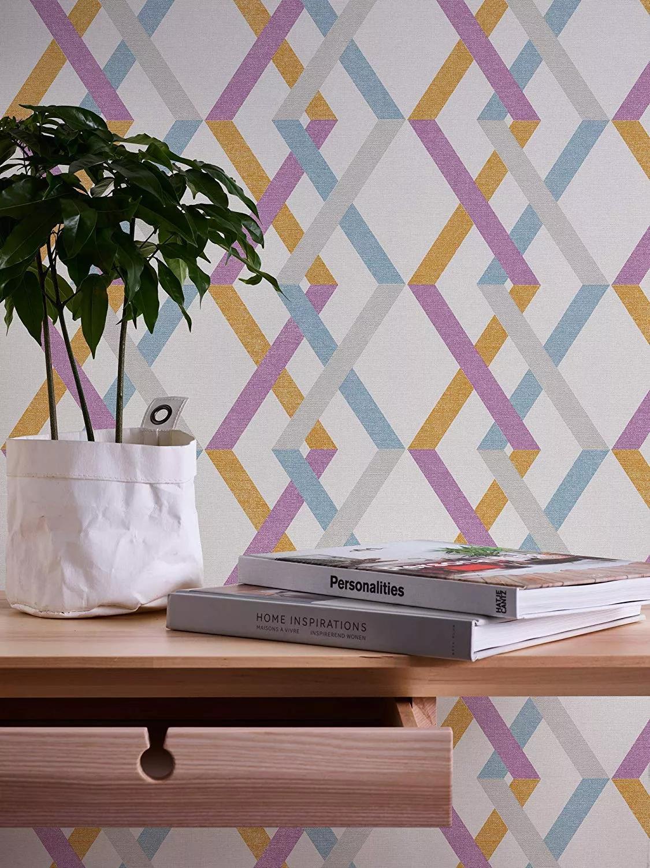 Színes modern geometrikus mintás vlies tapéta, lila, szürke, narancs színekkel