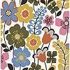 Színes rajzolt skandináv stílusú vlies tapéta virágmintával