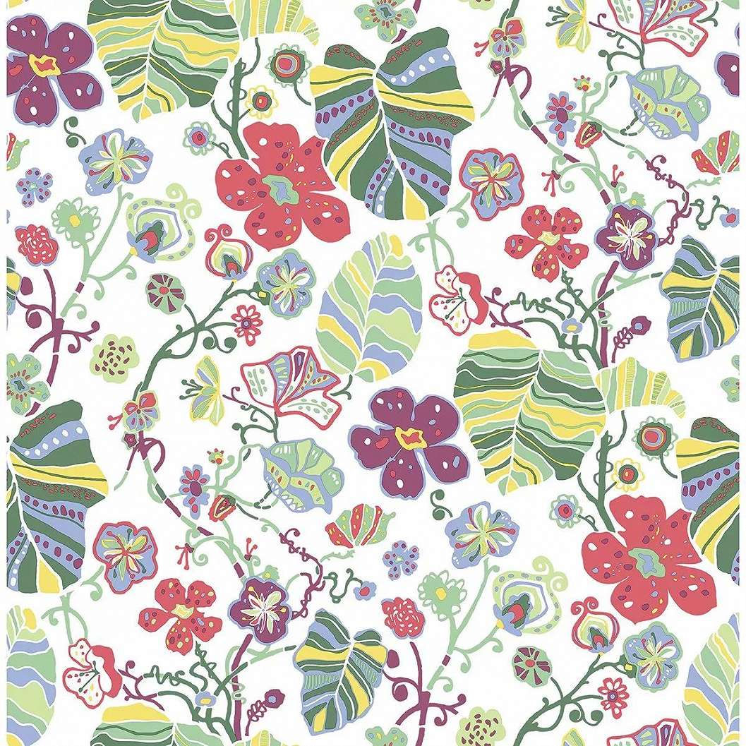 Színes skandináv hangulatú virágmintás vlies tapéta