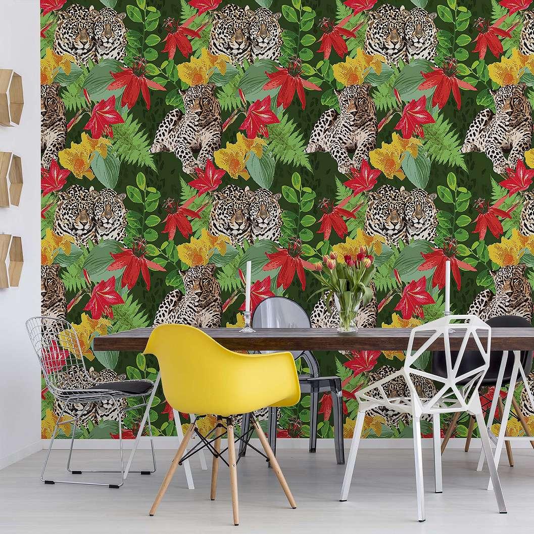 Színes trópusi mintás fali poszter, leopárd és levél mintával