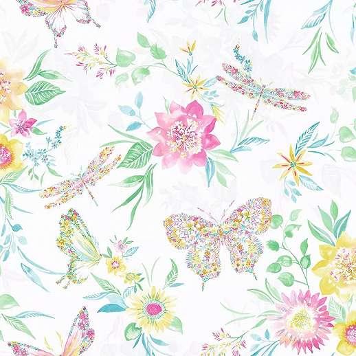Színes vidám virág és lepke mintás vlies design tapéta