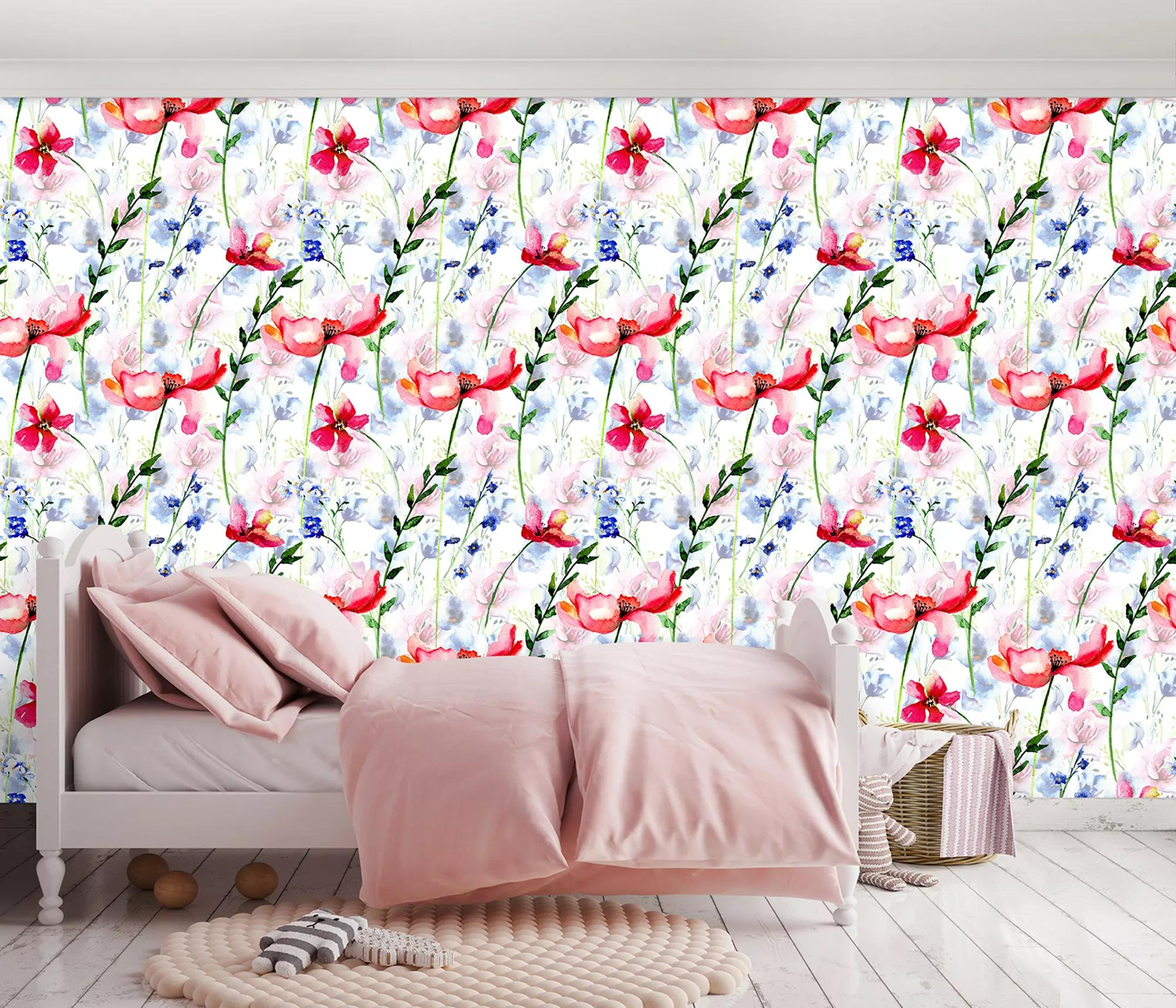 Színes virágmintás fali poszter pirosas színvilágban