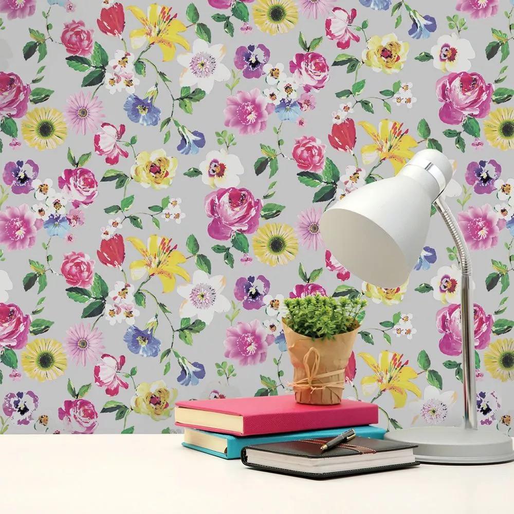 Színes virágmintás tapéta szürke alapon