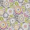 Színes virágmintás vintage hangulatú vlies design tapéta