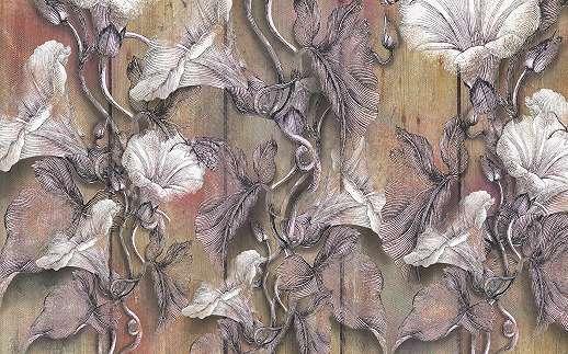 Szövet hatású virágmintás fali poszter