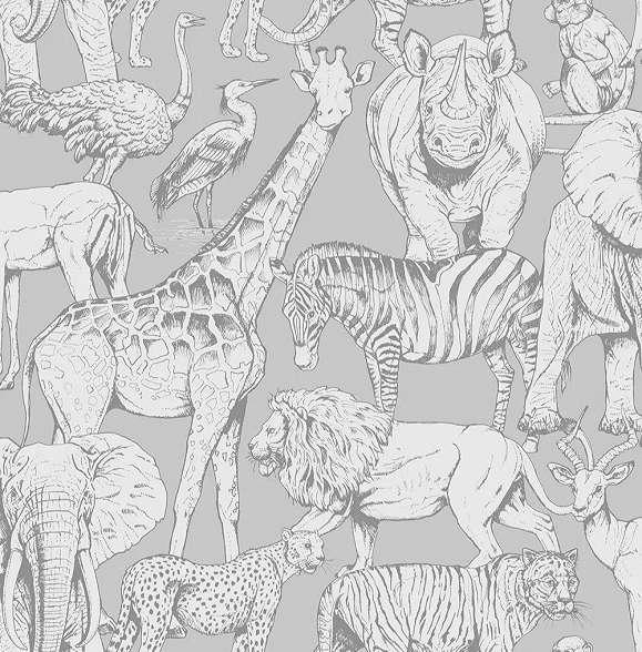 Szürke afrikai állat mintás gyerekszobai vlies tapéta
