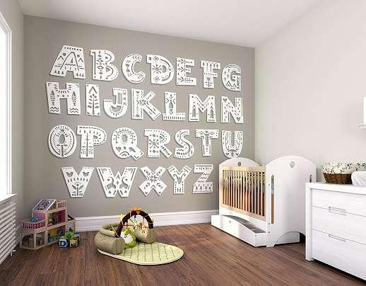 Szürke alapon ABC mintás gyerekszobai vlies fali poszter