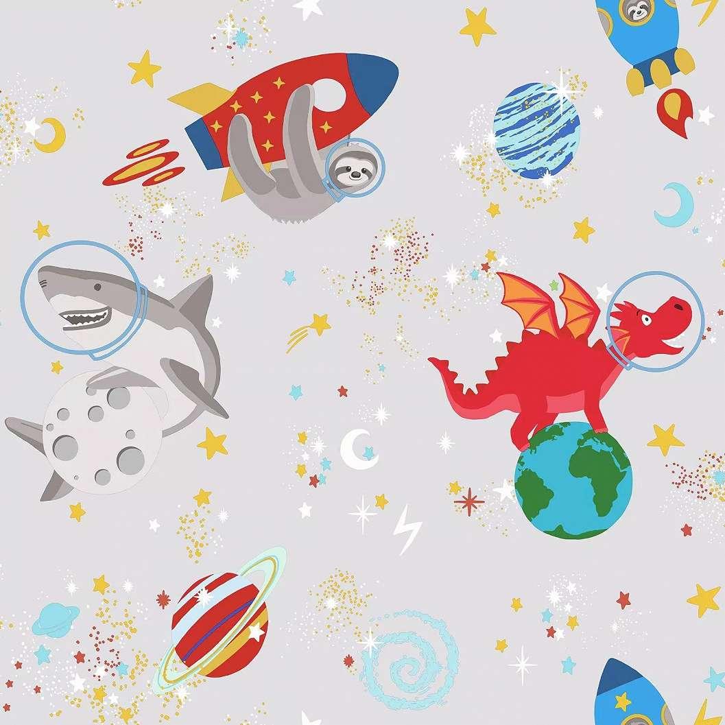 Szürke alapon bolygó és kedves mesefigura mintás gyerektapéta