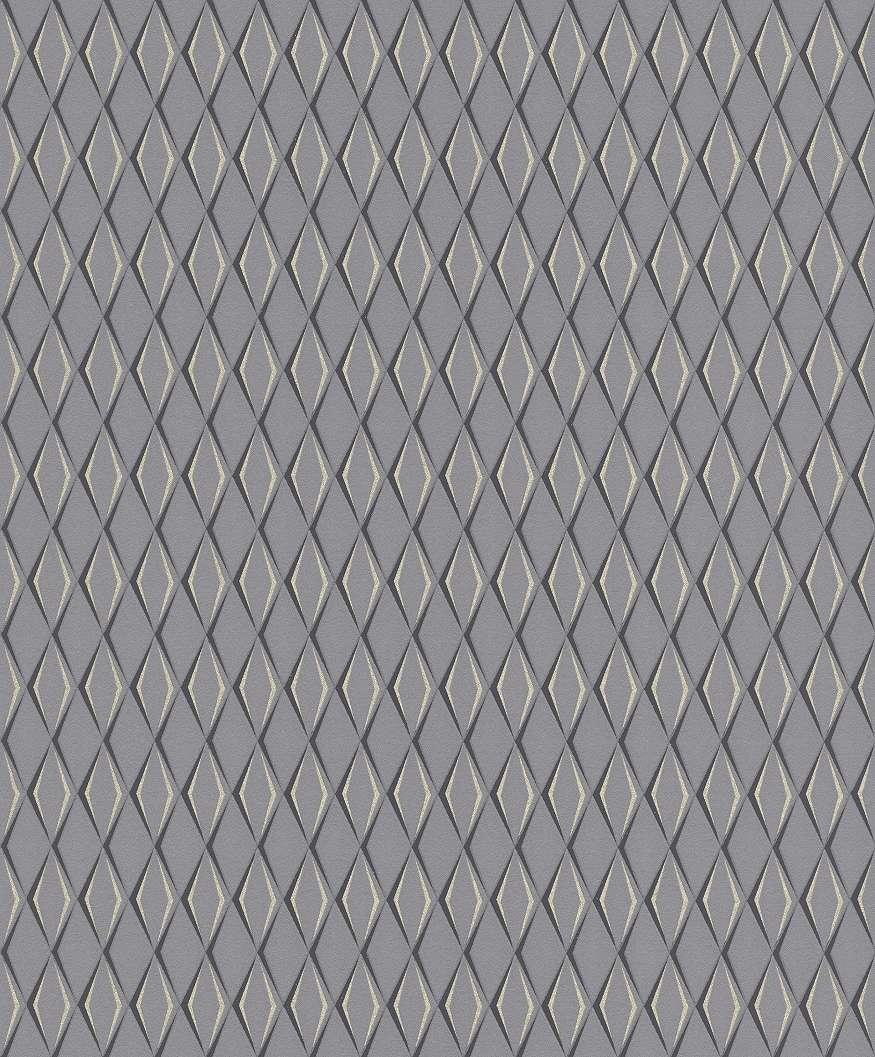Szürke alapon ezüst fekete geometriai mintás rasch tapéta