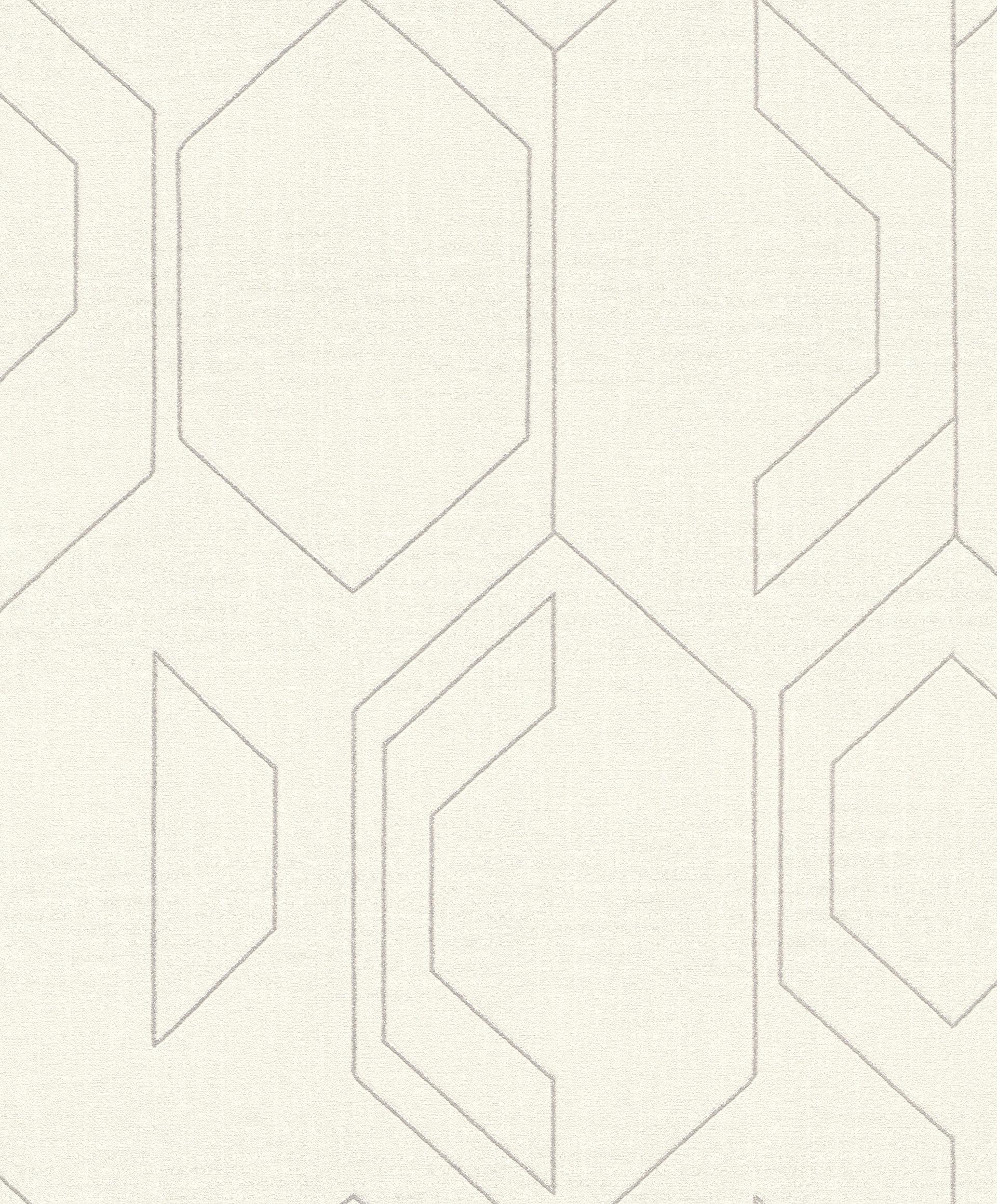 Szürke alapon ezüst geometriai mintás tapéta