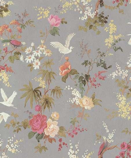 Szürke alapon romantikus népies madár és virág mintás vlies dekor tapéta