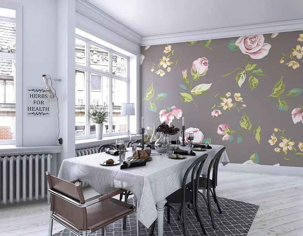 Szürke alapon romantikus rózsa mintás vlies fali poszter