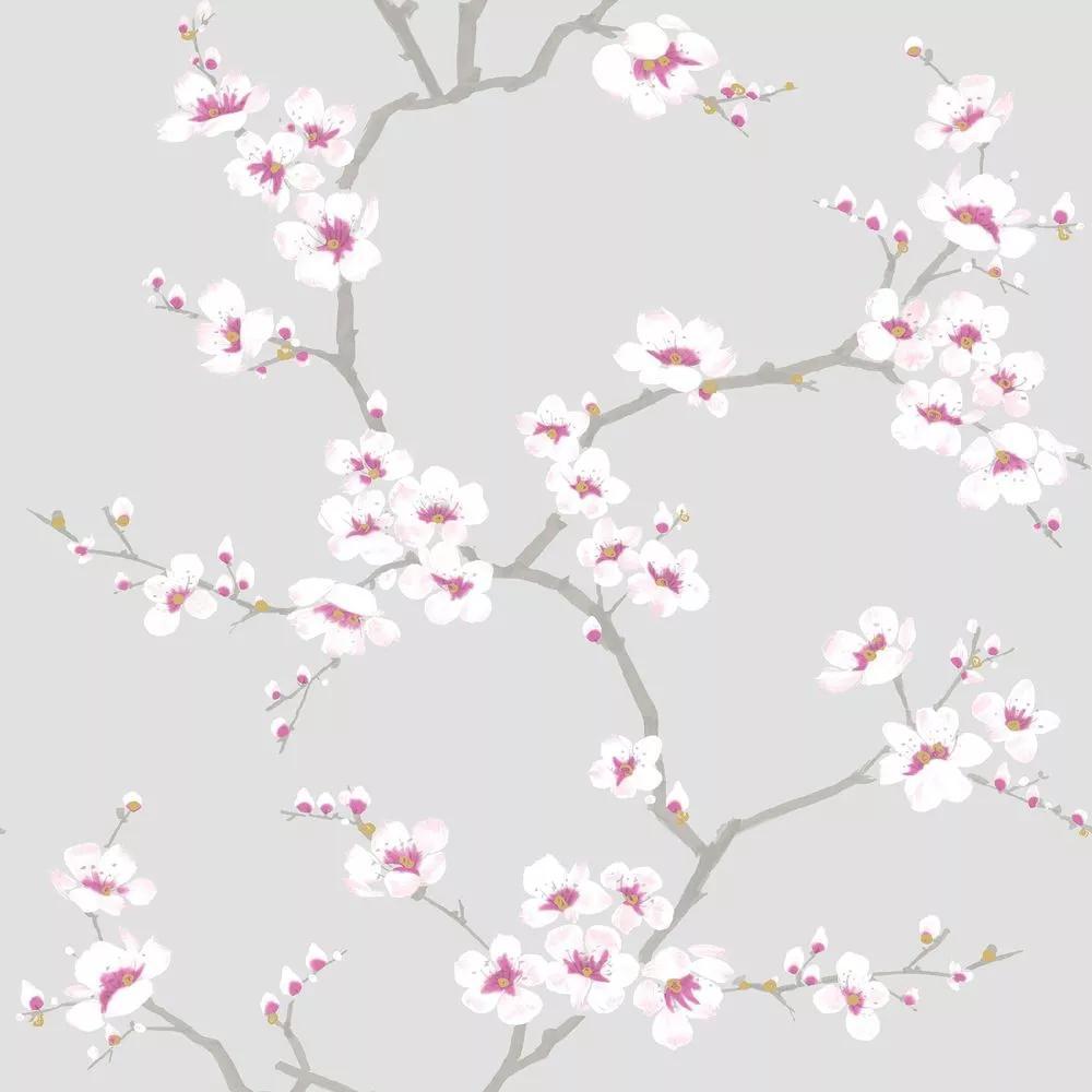 Szürke alapon virágmintás tapéta rózsaszín virág mintával