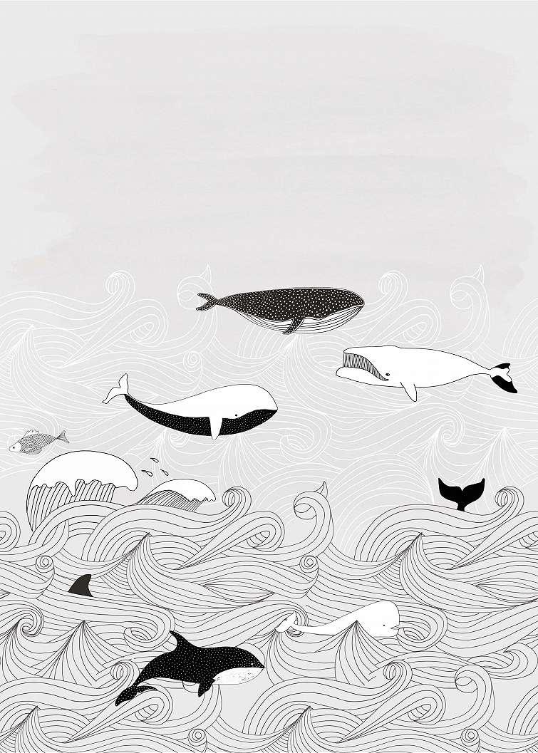 Szürke, bálna mintás fali poszter gyerekszobába