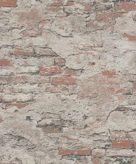 Szürke-barna loft hangulatú téglamintás dekor tapéta