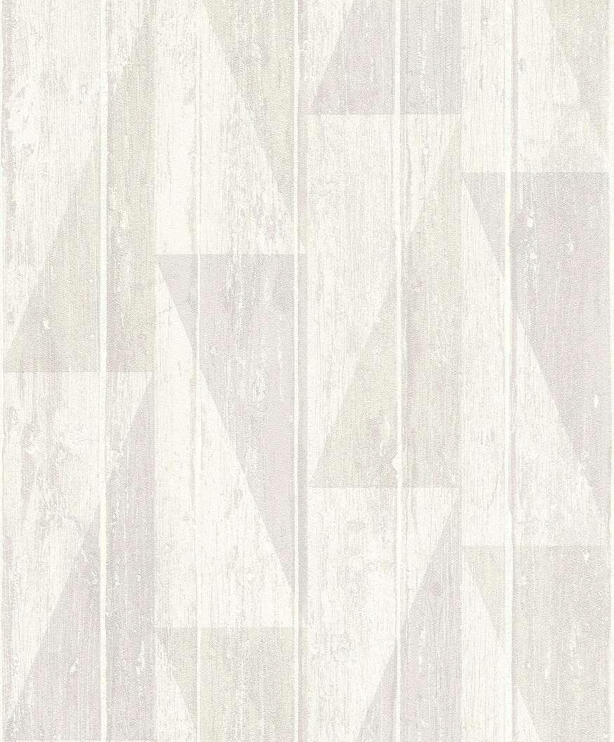 Szürke-bézs fahatású geometrikus mintás modern vlies tapéta