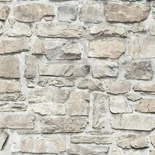 Szürke-bézs kőfal hatású vlies dekor tapéta