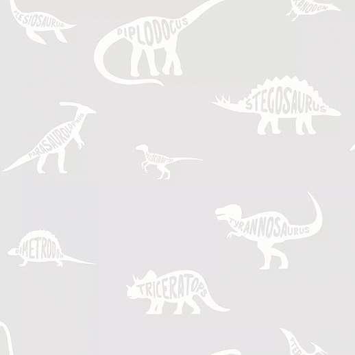 Szürke dinoszaurusz mintás gyerektapéta