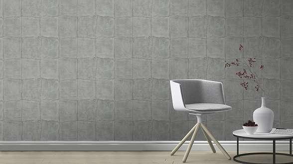 Szürke-ezüst gyöngyházfényű bőrhatású tapéta