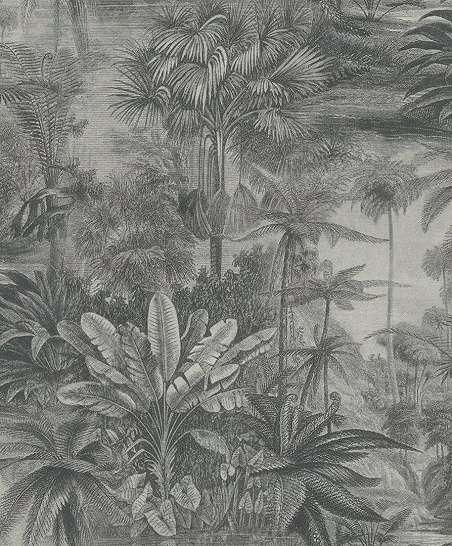 Szürke, ezüst metál fényű dzsungel mintás design tapéta