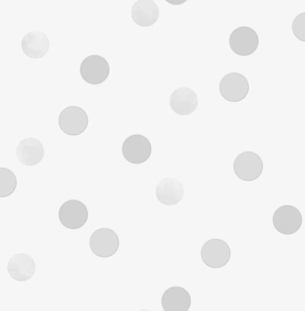 Szürke, ezüst, metál hatású pöttyös mintás vlies tapéta