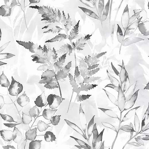Szürke ezüst skandináv stílusú levélmintás vlies tapéta