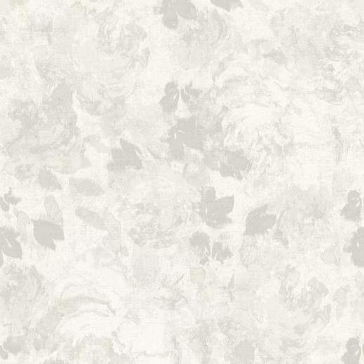 Szürke-fehér akvarell hatású virágmintás design tapéta