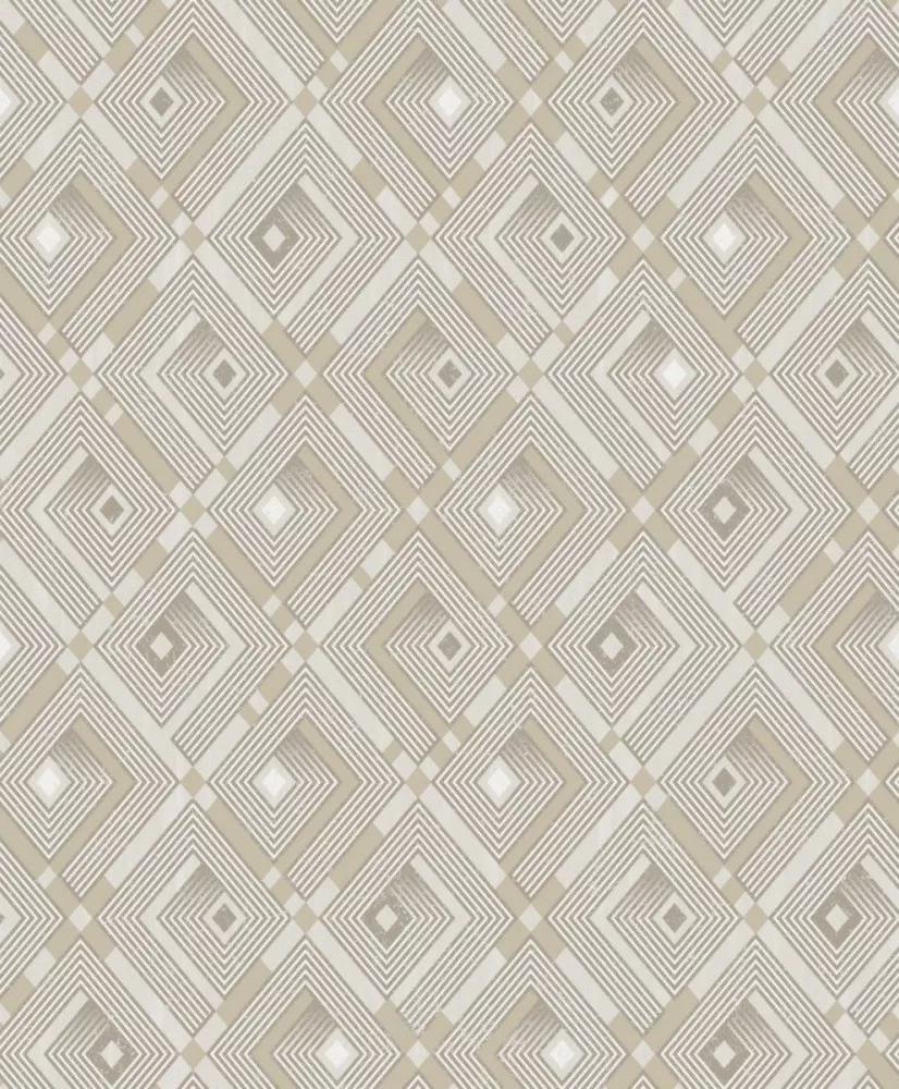 Szürke fehér arannyal kombinált geometrikus mintás vlies dekor tapéta