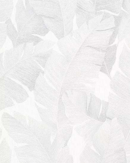 Szürke fehér banánlevél mintás modern vlies tapéta
