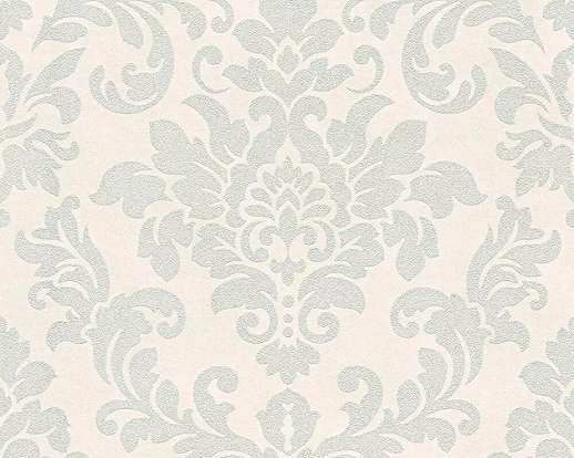 Szürke fehér barokk mintás klasszikus vlies tapéta