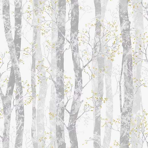 Szürke fehér erdei fa mintás tapéta apró sárga levél mintákkal