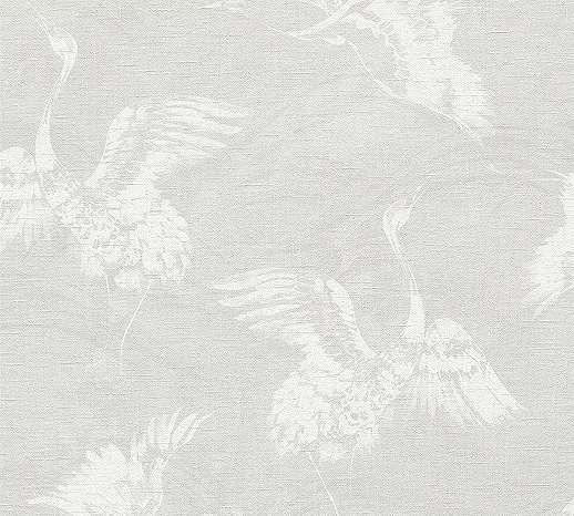 Szürke fehér madár mintás vlies tapéta