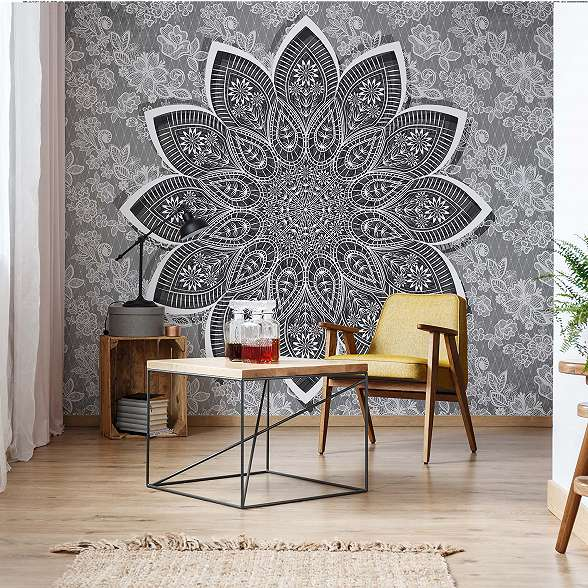 Szürke fehér mandala mintás fali poszter
